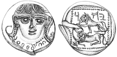 The new drachm of Judah after cleaning (Photos, Vladimir Naikhin; drawings, Pnina Arad).