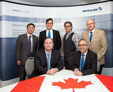 Back row: Dr. Xianyao Li, Chief Technology Officer Royal Canadian Mint (RCM); André Faust, Schuler; Piere Justino, Senior Director R&D RCM; Rudi Schubert, Schuler Inc.; Front row: Sean Byrne, Vice President Operations RCM; Dieter Merkle, General Manager, Schuler (from left). Photo: Schuler Group.