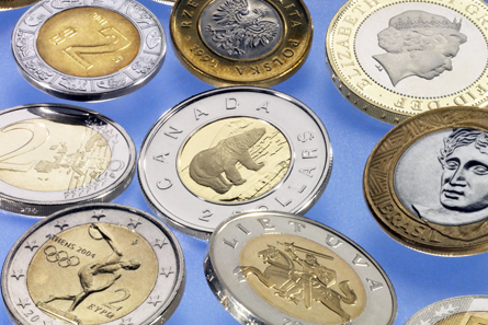 Canadian two-dollar coin and other bi-metall coins. Photo: Schuler Group.