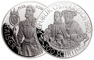 100 shilling coin. Philip II and Ferdinand I. Rev. Charles V. Mintage: 75,000 specs. Photo: Austrian Mint.