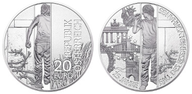A very exclusive preview on upcoming material. The readers of CoinsWeekly are the first to see this new coin! 20 Euro 2014. Fall of the Iron Curtain. Photo: Austrian Mint.