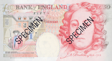 Houblon 50 pound banknote. © Bank of England.