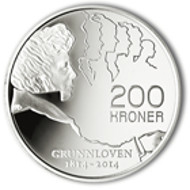 Constitution bicentenary 2014 200-krone silver coin. © Norges Bank.