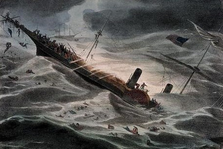 J. Childs, Painting of the sinking of the Central America, 1857. Source: National Maritime Museum, London.