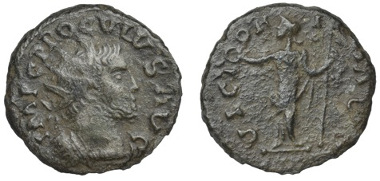 Image from the DNW auction catalogue of the second known example of an antoninianus in the name of Proculus. Catalogue DNW 10 April 2013 lot 694.