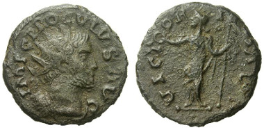 Image from the Numismatik Lanz auction catalogue of the same example of an antoninianus in the name of Proculus. Numismatik Lanz Auction 9 December 2013 lot 357.