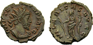 Antoninianus in the name of Tetricus issued by the Cologne mint. Auction sale A. Tkalec AG May 2010 lot 409.