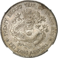 3164: China. Pei-Yang Province. 1 dollar year 22 (1896). Graded MS 62 by NGC. Dav. 186. Very rare. Extremely fine to mint state. Estimate: 15,000 euros. Hammer price: 140,000 euros.