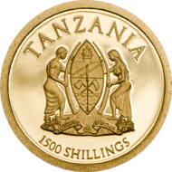 Tanzania / 1500 Shillings / 9999 gold / 11mm / 0.5g / Mintage: 15,000.