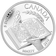 The reverse image of this 99.99 per cent pure silver coin was designed by Canadian artist Laurie McGaw and features an ethereal female figure emerging from a pen as a representation of one of the many central characters from Alice Munro's beloved short stories. © Royal Canadian Mint.