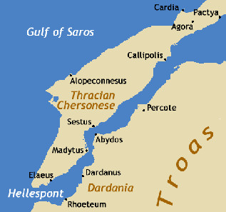 Sestos and Abydos lie on opposing sides of the Hellespont strait. Dorieo21 / http://creativecommons.org/licenses/by-sa/3.0/deed.en