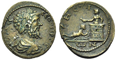 Greek coins minted under Roman Rule, Thrace, Sestos. Septimius Severus, 193-217. Bronze. Compare BMC 200,18 (Caracalla, with the same reverse). See F. Sternberg, auction from 28-29.11.1975, 147 (this coin). Nearly extremely fine. From F. Sternberg, Auction in Zürich from 28th-29th 11.1975, 47.