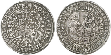 Magdeburg. Coins on the Reformation Jubilee 1617. Reichsthaler 1617. Rev. the reformers Johann Hus and Martin Luther. Dav. 5509. From auction sale Künker 237 (2013), 2308.