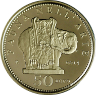 Italy/ 50 Euros/ Gold/ 16.13 g/ 28 mm/ Mintage: 1,500.