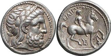 Tetradrachm of Philipp II, made posthumously c. 315/4 - 295/4 B. C. in Amphipolis. From auction Gorny & Mosch 146 (2006), 162.