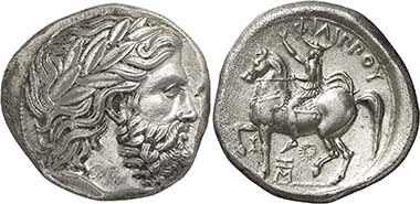 Tetradrachm of Philipp II depicting the King addressing the army assembly, minted in Pella c. 359-355/4. From auction Nomos 2 (2010), 55.