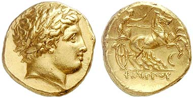 Gold stater of Philipp II, minted posthumously 336-328 in Amphipolis. From auction Lanz 148 (2010), 22.