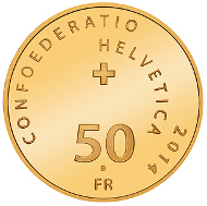 Switzerland / 50 CHF / Gold .900 / 11.29g / 25mm / Design: Stephan Bundi / Mintage: 6,000.