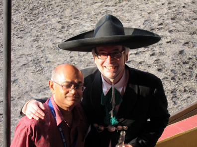 Schuler Pressen GmbH invited for the good-bye evening. This is Dieter Merkle representing the company, wearing the traditional costume of the Mexican charros. Next to him is Prabir De, Head of the Technical Committee of MDC. Photograph: UK.