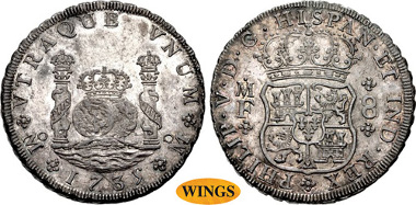 1872: MEXICO, Colonial. Felipe V. King of Spain, second reign, 1724-1746. AR 8 Reales. Ciudad de México mint. Manuel de Léon and Francisco de la Peña y Flores, assayers. Dated 1735 Mo MF. KM 103. The first type of Mexico Pillar struck for circulation. Estimate $3,000.