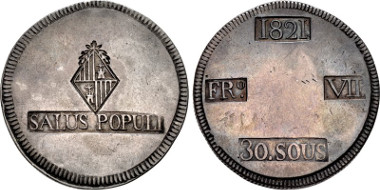 921: SPAIN, Reino de España. Fernando VII. Second reign, 1813-1833. AR 30 Sueldos. Provincial issue for the Yslas Baleares (Balearic Islands). Majorca mint. Dated 1821. KM (C) L53.1. Estimate $300.