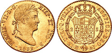 915: SPAIN, Reino de España. Fernando VII. Second reign, 1813-1833. AV 2 Escudos. Madrid mint. Antonio Rafael Narváez and José Duro Carcés, assayers. Dated 1832 M AJ. KM 483.1. Estimate $600.