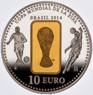 2014 FIFA World Cup Brazil Coin. Spain/ 10 Euro / Silver .925/ 27 g/ 40 mm/ Mintage: 8,000.