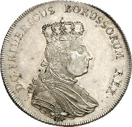 Lot 2753: PRUSSIA. Frederick II (1740-1786). Speciesthaler 1755, Berlin. Dav. 2592. First strike. About proof-like. Estimate: 30,000,- euros. Hammer price: 65,000,- euros.