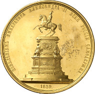 Lot 4151: RUSSIA. Alexander II (1855-1881). Gold medal 1859 by P. Brusnitsyn on the erection of the monument for Nicholas I in St. Petersburg. Diakov 681.1. Very rare. Extremely fine to proof-like. Estimate: 75,000,- euros. Hammer price: 100,000,- euros.