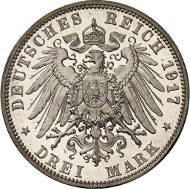 Lot 4705: IMPERIAL COINAGE. Saxony. Frederick August III (1904-1918). 3 mark 1917 E. On the 400th Jubilee of the Reformation. J. 141. Very rare. Proof. Estimate: 60,000,- euros. Hammer price: 67,000,- euros.