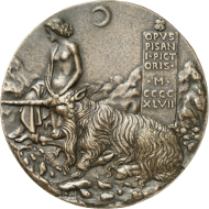 Pisanello (1395-1455), medal of 1447 on behalf of Cecilia Gonzaga (1424-1451). Reverse: A half-dressed maid taming a unicorn by imposing her hands in a moon scenery. Copyright: Münzkabinett der Stadt Winterthur, Photograph: Lübke & Wiedemann, Stuttgart.