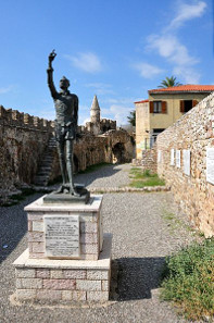 Statue of Cervantes in present-day Naupactus, ancient Lepanto, in Greece. Photograph: vlahos vaggelis / http://creativecommons.org/licenses/by-sa/3.0/deed.en.