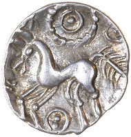 Enlarged coin photos reveal remarkable details of Iron Age symbolism. Rich Type 10a, Two-Pellet Proto Boar. Source: Elizabeth Cottam, Chris Rudd.