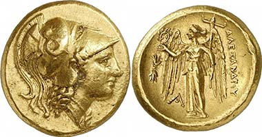 Alexander III. Gold double stater, during his lifetime, Aigai. From auction Gorny & Mosch 185 (2010), 82.