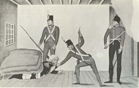 Bligh is being arrested - propagandist caricature portraying Bligh as a coward. Sydney in 1808. State Library of New South Wales. Photo: Wikipedia.