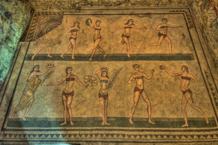 A view of the 'Bikini Girls' mosaic at the Piazza Armerina in Sicily (contemporary to this magazine's 'AD 302' publication date).