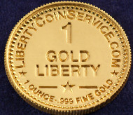 This is what the fictive gold currency looks like. Notice the subtle hint at the website of the very real company Liberty Coin Service.