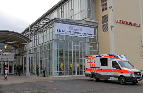 Entrance to the 98th Hannover coin show.