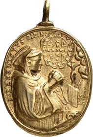 3243: Fischingen Abbey (Thurgau). Cast bronze pendant, gilded, upright oval. Augsburg, end of 17th cent., Jakob Neuss. Half-length portrait of St. Idda in the garment of a countess, a deer to her l., signature IN above the l. hand. Rev. half-length portrait of St. Benedict, kneeling and praying, shield above, to the r. of his sleeve signature IN. 33.8x29.8 mm. SNR 28 (1941), 39, 6var. Very fine to extremely fine. Estimate: 100 euros.
