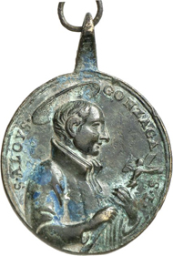 3002: St. Aloysius Gonzaga. Cast bronze pendant, upright oval, Italy, 18th century. Half-length portrait with crucifix r. Rev. heart of Christ with crown of thorns and cross, loop and ring. 28 x 27 mm. Fine to very fine. Estimate: 50 euros.