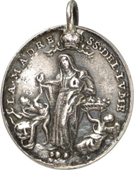 3276: Palermo, Santa Maria del Lume. Cast silver pendant, upright oval, 17th cent. Crowned Virgin with Child, adjacent a putto with a basket filled with hearts, below to the l. a man putting his foot in the jaws of a lion. Rev. St. Agrippina of Mineo with tower, book and cross, holding the devil lying on the ground on a chain. 29.8 x 26.9 mm. Very fine. Estimate: 100 euros.