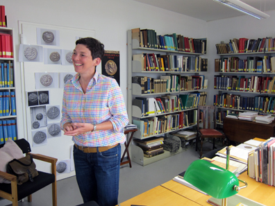 The coin cabinet and its curator, Dr Claudia Klages. Photo: KW.