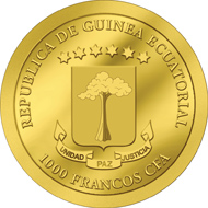 Republic of Equatorial Guinea / 1000 Francs CFA / 9999 Gold / 0.5 g / 11 mm / Mintage: 1,500.