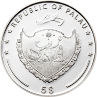 Palau/ 5 Dollars/ Silver .999/ 25 g/ 38.61 mm/ Mintage: 2014 pieces.
