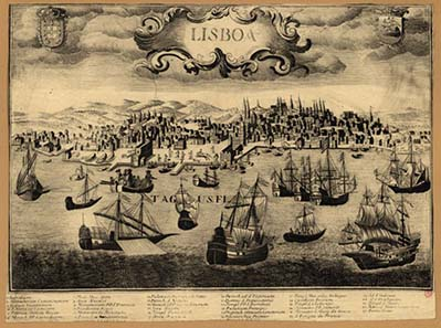 Lisbon harbour, about 1650.
