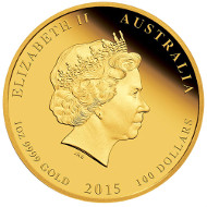 2015 Year of the Goat Gold Proof Coin. Available as 1oz, ¼oz and 1/10 oz Gold Proof Coin or as Three-Coin Set: Australia/ 100 AUD/ 1oz Gold 99.99/ 31.112 g/ 39.34 mm/ Designer: Natasha Muhl/ Mintage: 6,000 // Australia/ 25 AUD/ ¼oz Gold 99.99/ 7.777 g/ 22.6 mm/ Designer: Natasha Muhl/ Mintage: 8,000 // Australia/ 15 AUD/ 1/10oz Gold 99.99/ 3.111 g/ 18.6 mm/ Designer: Natasha Muhl/ Mintage: 8,000.