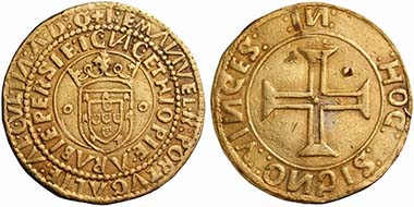 Emmanuel I (1495-1521). Português of 10 Cruzados n. d., Lisbon. From auction UBS 50 (2001), no. 28.