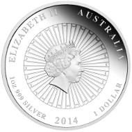 2014 Australian Abalone Shell 1oz Silver Proof Coin.  Australia/ 1 AUD/ 1oz Silver 99.9/ 31.135 g/ 36.6 mm/ Designer: Tom Vaughan/ Mintage: 5,000.