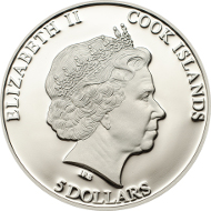Cooks Islands/ 5 Dollars/ 1 oz Silver .999/ 38.61 mm/ Mintage: 2500.
