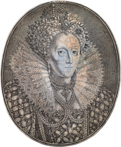 Lot 127 - Elizabeth I, silver oval portrait medal by Simon de Passe, circa 1616. Sold for £16,500. Prices quoted are hammer price plus buyers premium.